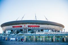 Snt 彼得斯堡,俄罗斯- 18 05 2018年,俄罗斯天然气工业股份公司天顶竞技场橄榄球场世界杯2018年 图库摄影