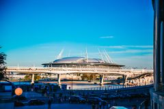 Snt Pietroburgo, Russia - 18 05 2018, coppa del Mondo 2018 dello stadio di football americano dell'arena di zenit di Gazprom Fotografie Stock Libere da Diritti