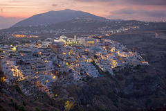 Sntorini - The Fira at morning dusk from Firostefani Royalty Free Stock Images