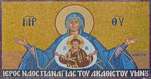 Sntorini - il mosaico di Madonna sulla chiesa di Panagia Immagini Stock