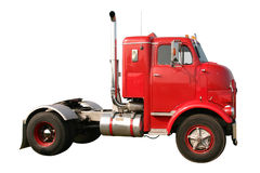 Snub Nose Truck. This is an early historic 1950s retro red single axle diesel truck isolated on white Stock Image
