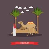 Snubbla till Egypten, arabisk illustration för lägenhet för beduinbegreppsvektor stock illustrationer