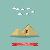 Snubbla till Egypten, illustration för design för stil för lägenhet för pyramidbegreppsvektor royaltyfri illustrationer