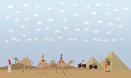 Snubbla till Egypten, pyramider som rider illustrationen för lägenheten för kamelbegreppsvektorn royaltyfri illustrationer