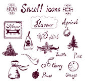 Snuff and tabacco icons set - hand drawn Royalty Free Stock Photo