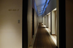 A snug corridor in the hotel with carpet Royalty Free Stock Image
