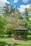 Snug cozy gazebo under blossoming trees on sunny summer day. Wooden gazebo in a garden on  blue sky background stock photo