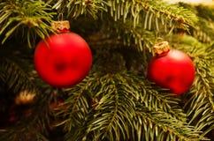 Snuisterijen op Kerstmisboom Stock Foto