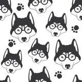 Snuit van honden met glazen, naadloos patroon stock illustratie