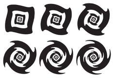Snurra och roterande effekter för optisk illusion i svart och Whit royaltyfri illustrationer