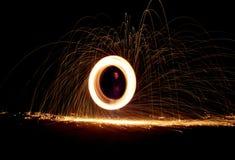 Snurrande för stålull Fotografering för Bildbyråer