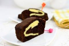 Planlagd chokladtårta Arkivfoton