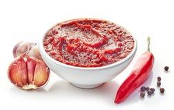Soße des scharfen Paprikas und des Knoblauchs Stockbild