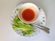 Soße und Gemüse Stockbild