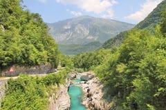  a SoÄ реки на ущелье Tolmin, Словении Стоковые Изображения RF