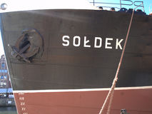"SoÅ-'DEK, das große  Schiff in GdaÅ-""SK Lizenzfreies Stockfoto"
