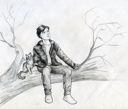 Soñadores en el árbol Imagen de archivo