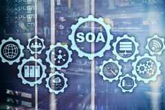 SOA. Business model and Information technology concept for Service Oriented Architecture under principle of service. Encapsulation royalty free stock photo