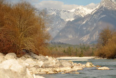 The Soča River. Bovec, Slovenia Stock Images