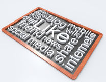 Soacial media wordclouds on blackboard Stock Images