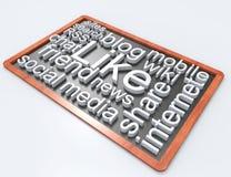 Soacial media wordclouds on blackboard Stock Images