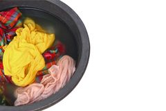 Soak dirty clothes in the basin black for clean isolated on white background and clipping path.  Royalty Free Stock Photography