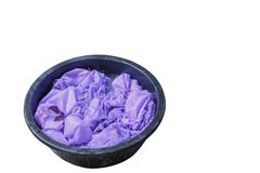 Soak dirty clothes in the basin black for cleansing  isolated on white background and clipping path.  Royalty Free Stock Photos