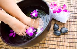 Soaking Feet In Bowl Of Floral Scented Water Stock Photo