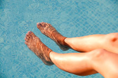 Soaking the feet in the pool Royalty Free Stock Image