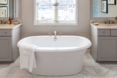 Soaking Tub in Modern Bathroom Stock Photos