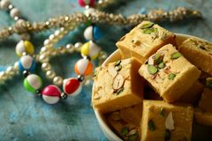 Soan papdi closeup image- Indian festival sweet snack royalty free stock photos