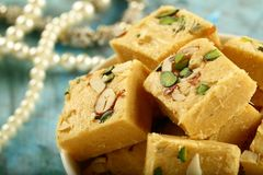 Soan papdi -delicious Indian festival sweet snack royalty free stock photography