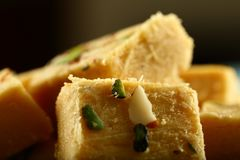 Soan papdi -delicious Indian festival sweet snack stock photo