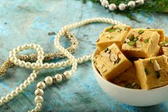 Soan papdi - Indian festival sweet snack stock image