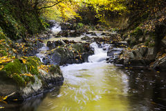 Soananrivier in de herfstseizoen, Beaujolais, Frankrijk Royalty-vrije Stock Afbeeldingen