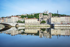 Soane river view with cathedrals Saint-Georges and Fourviere in Royalty Free Stock Image