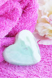 Soap. In the form hearts on the towel Royalty Free Stock Images