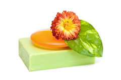 Soap. Natural soap and flower isolated on white background Royalty Free Stock Image