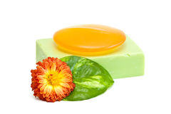 Soap. Natural soap and flower isolated on white background Royalty Free Stock Photos