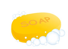Soap. Illustration of round yellow soap with bubbles Royalty Free Stock Photography