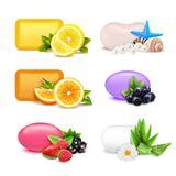 Soap Aroma Bars Set. Soap aroma bars realistic set with lemon and orange aroma isolated vector illustration vector illustration