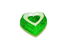 Soap as a green heart Royalty Free Stock Photo