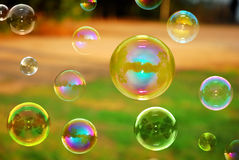 Soap Autumn bubbles Royalty Free Stock Photos