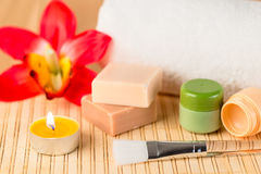 Soap, balm and candles for spa relaxation Royalty Free Stock Photo