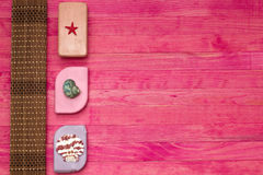 Soap bar and bamboo mat Stock Photo
