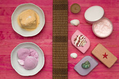Soap bar and cream mask Royalty Free Stock Photos