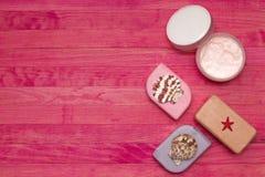 Soap bar and cream mask Royalty Free Stock Image