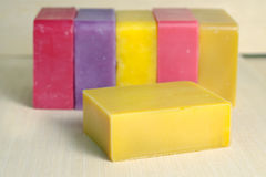 Soap bar flavor with rose, banana, lavender, mango and strawberr Royalty Free Stock Photography