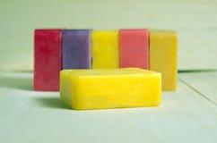 Soap bar flavor with rose, banana, lavender, mango and strawberr Stock Photo