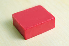 Soap bar flavor with strawberry ingredient  on wooden bo Royalty Free Stock Photos